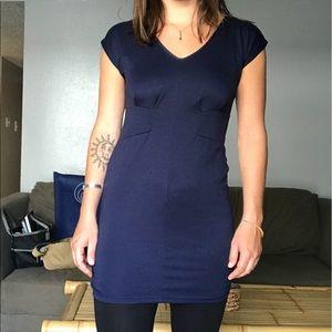 Navy Blue Zip-Up Mini Dress